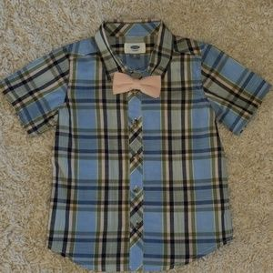 4t boy's short sleeve collared shirt w/ bow tie